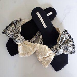 Zara Trafaluc raffia thread bowed slides Size 40